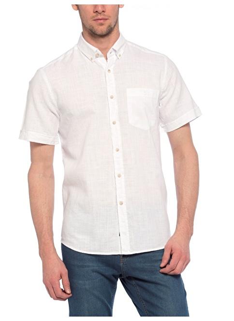 LC Waikiki Kısa Kollu Slim Fit Gömlek Beyaz